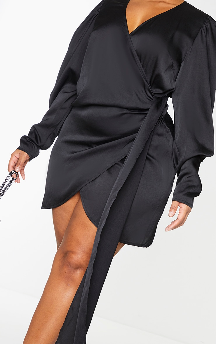 Plus Black Satin Puff Sleeve Wrap Dress 4