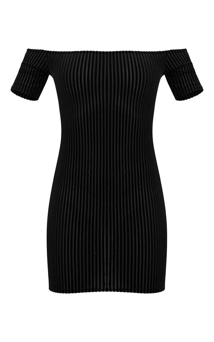Black Striped Velvet Bardot Bodycon Dress 3