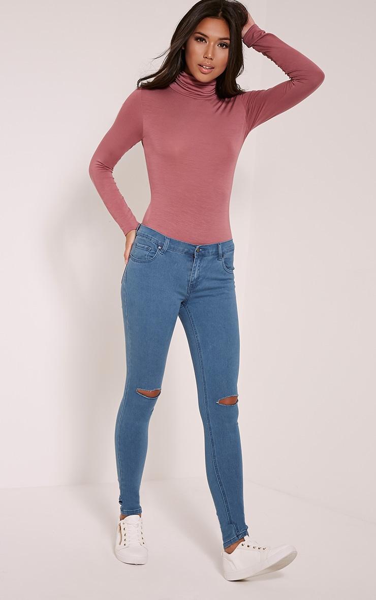 Basic Rose Long Sleeve Roll Neck Bodysuit 2