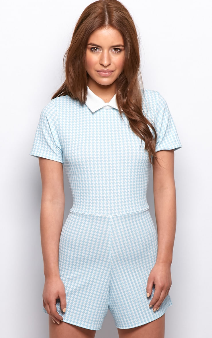 Sara Blue & White Dogtooth Playsuit 1