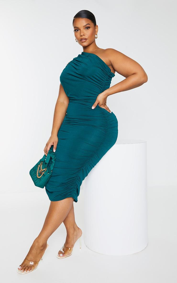 Plus Emerald Green Slinky Ruched One Shoulder Longline Midi Dress 3