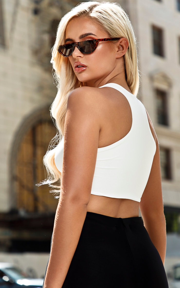 White Slinky Racer Back Crop Top 2