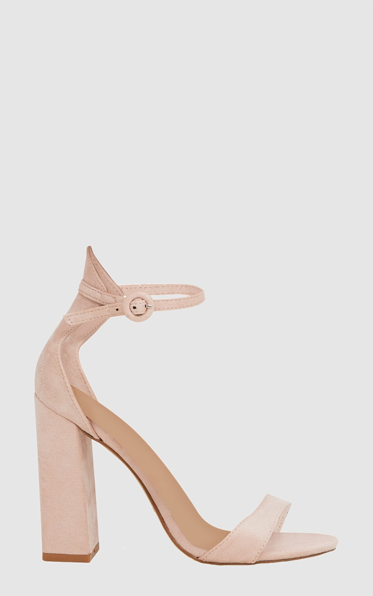 Nude Faux Suede Block High Heeled Sandals 3