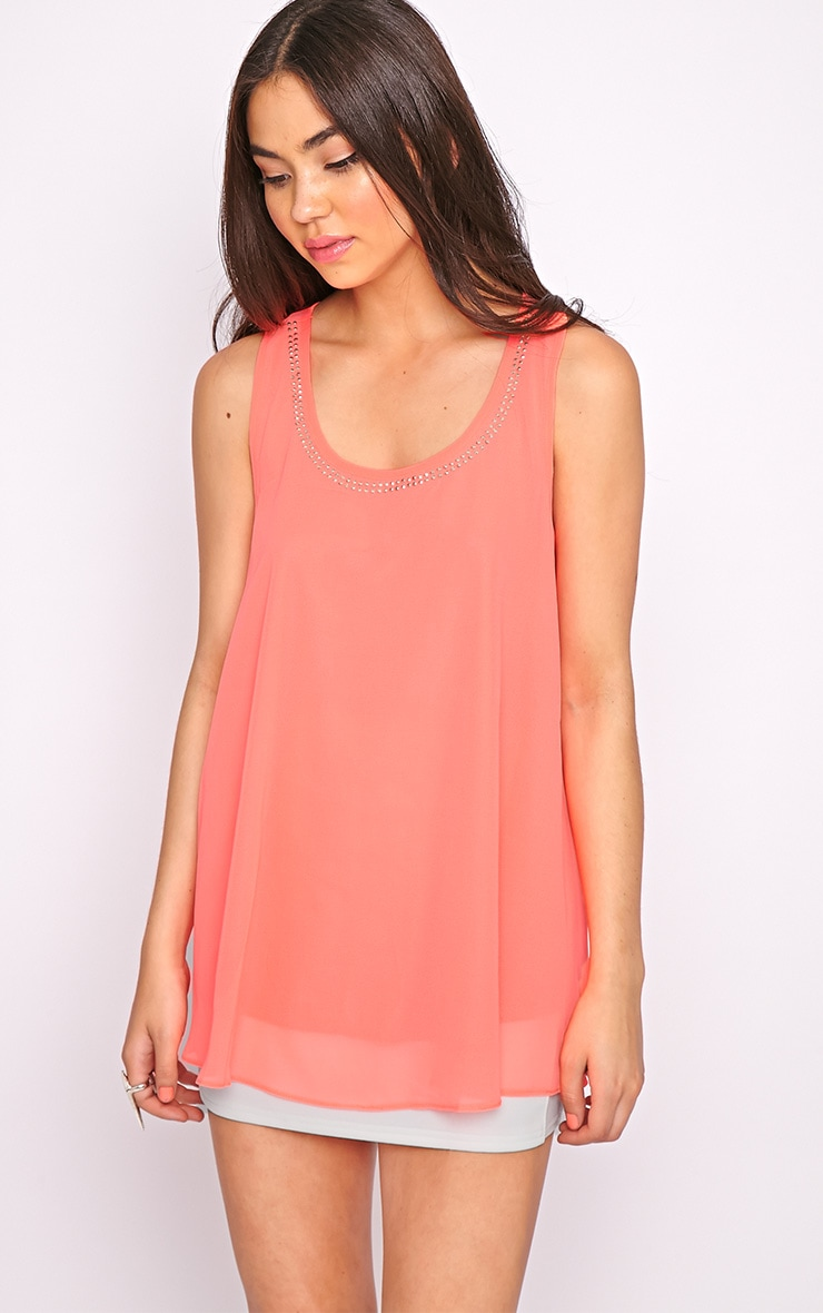 Lizzy Coral Studded Swing Vest  4