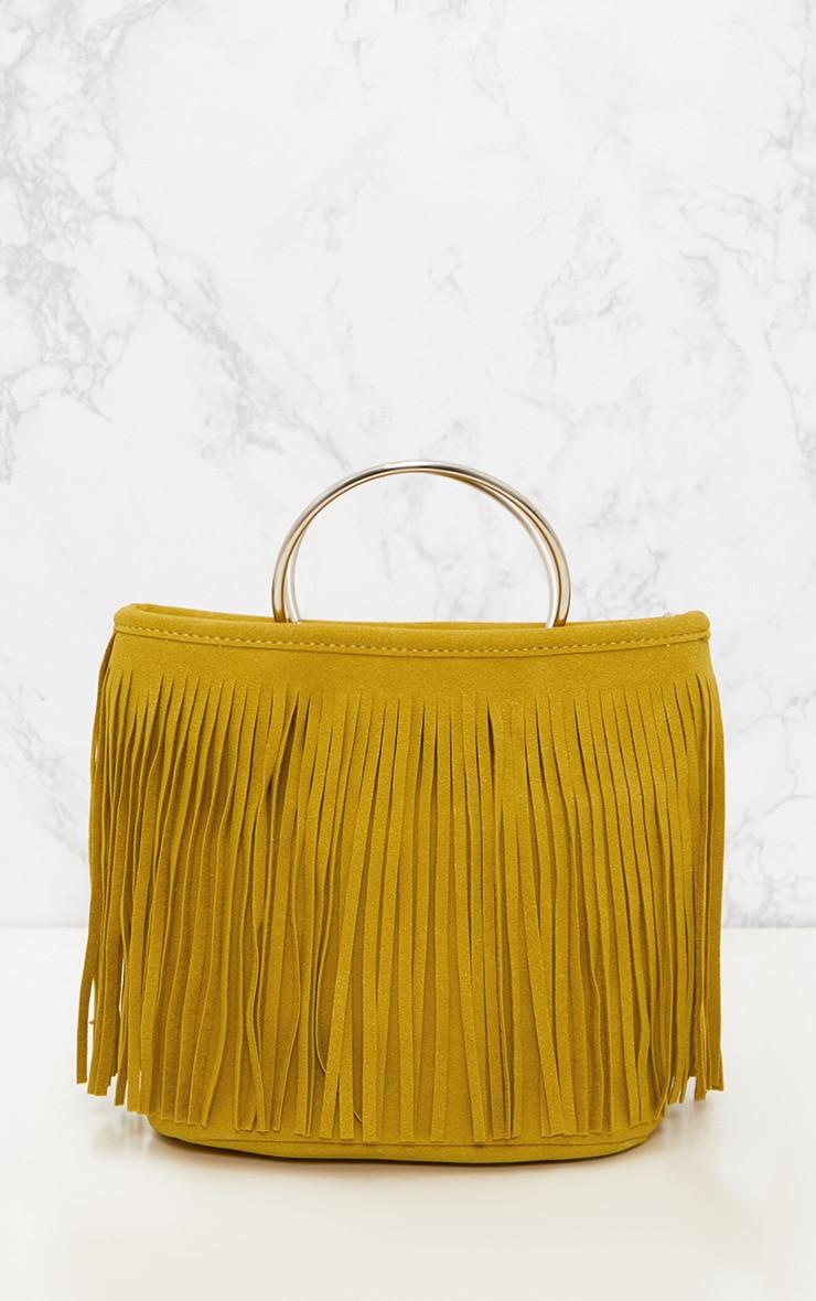 Yellow Fringed Hoop Handle Bag 2