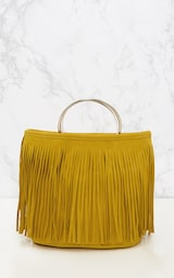 ce76d057cc Sac jaune à franges et poignée anneau Accessoires | PrettyLittleThing FR