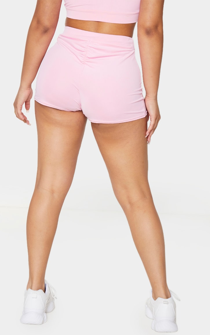 Petite Baby Pink Ruched Bum Booty Short 3