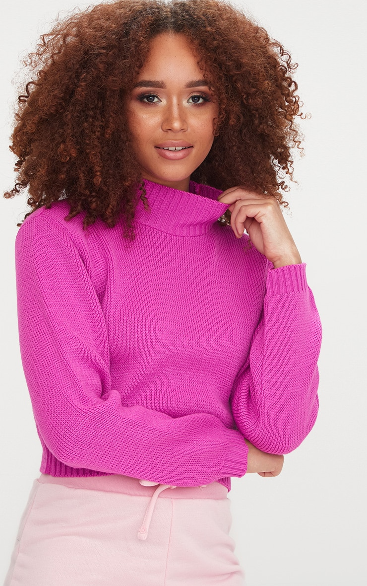 Fuchsia High Neck Soft Knit Cropped Jumper 1