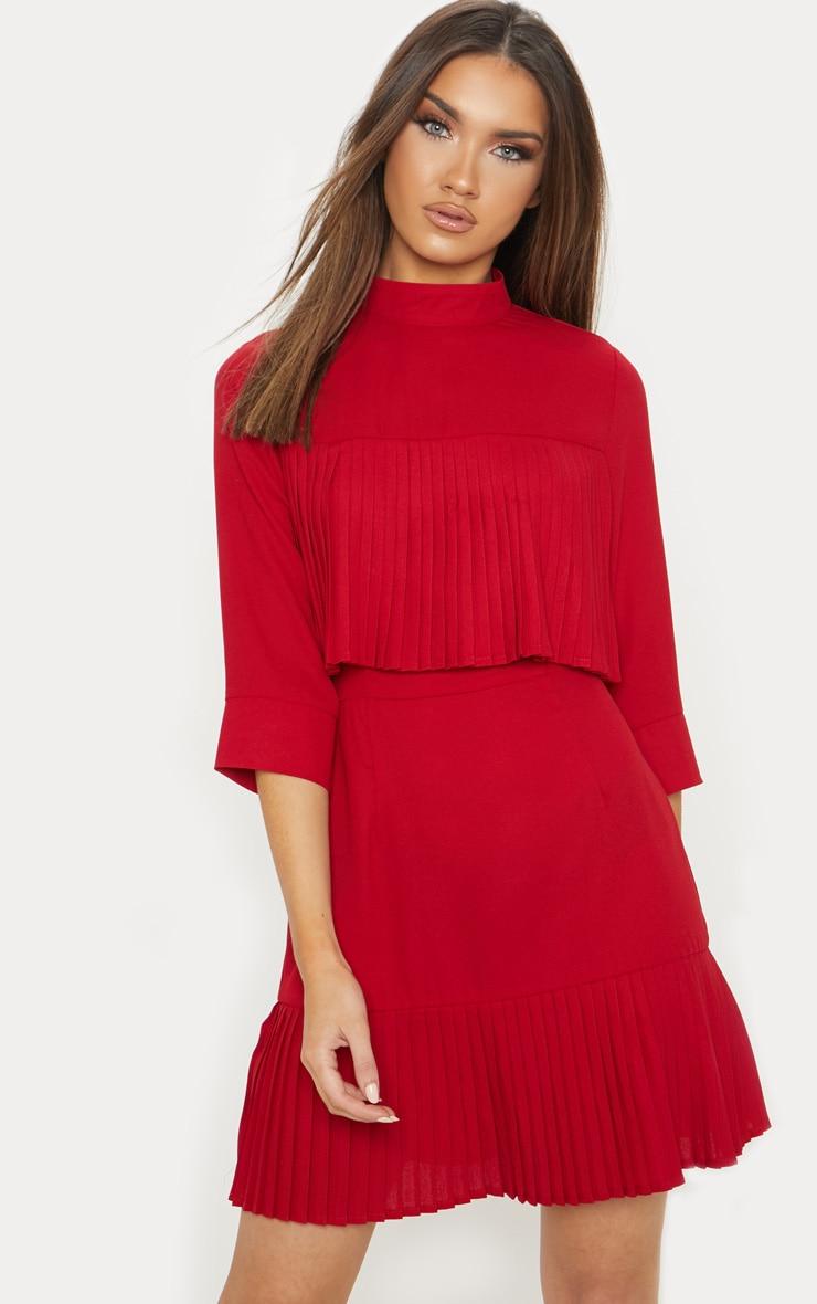 Red Pleated Detail Frill Hem Bodycon Dress 1