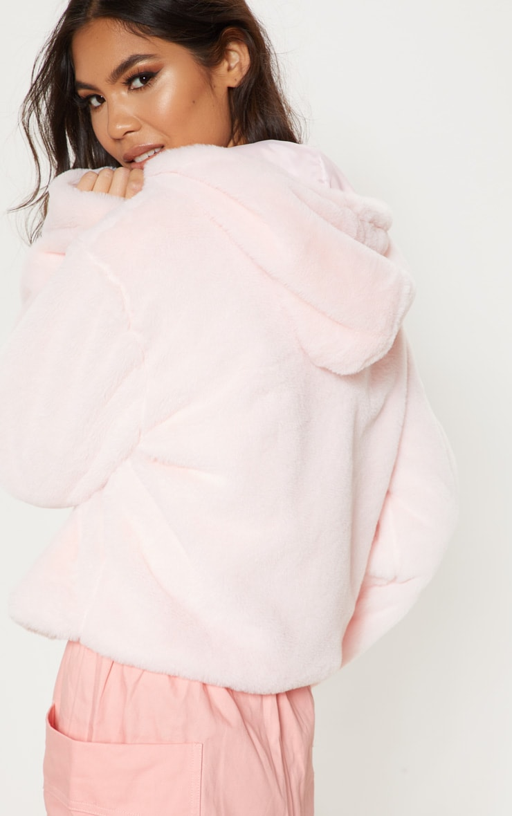 Pink Faux Fur Cropped Hooded Jacket  2