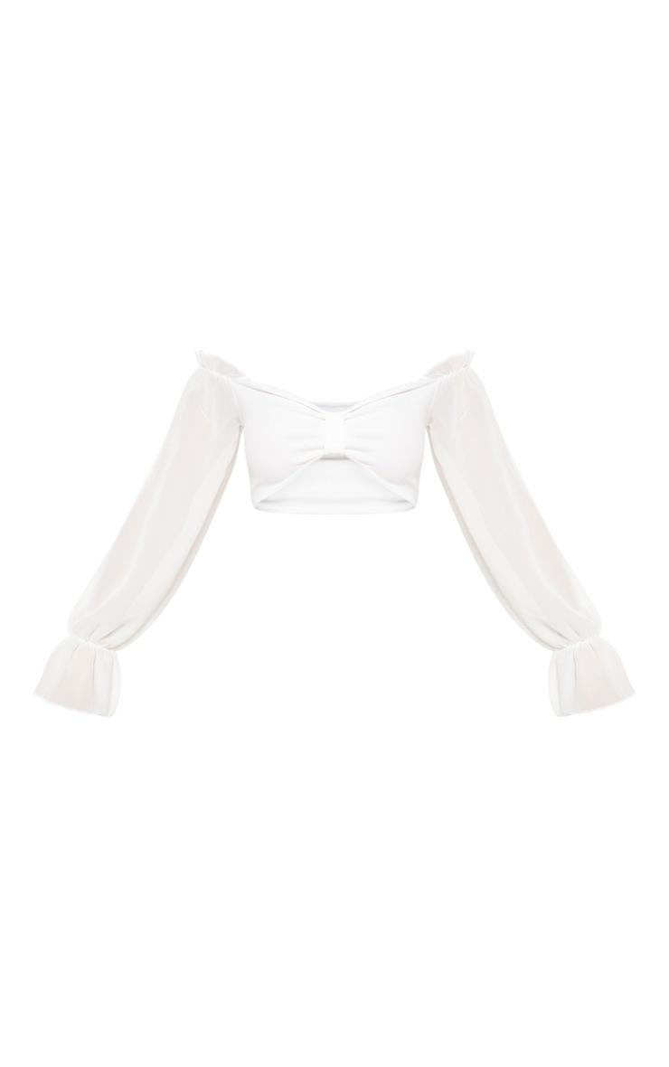 White Bardot Chiffon Flare Sleeve Crop Top 3