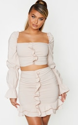 Nude Woven Stretch Frill Ruched Front Mini Skirt 3