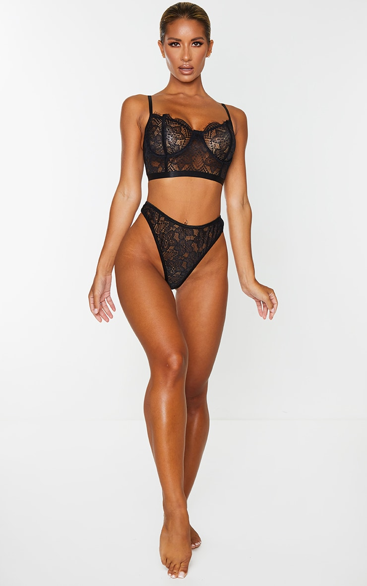 Black Delicate Lace High Waisted Thong 4