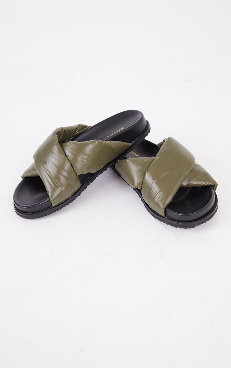 Khaki Puffer Cross Over Footbed Sandals 3