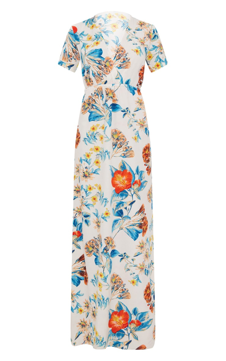 White Floral Print Plunge Maxi Dress 3