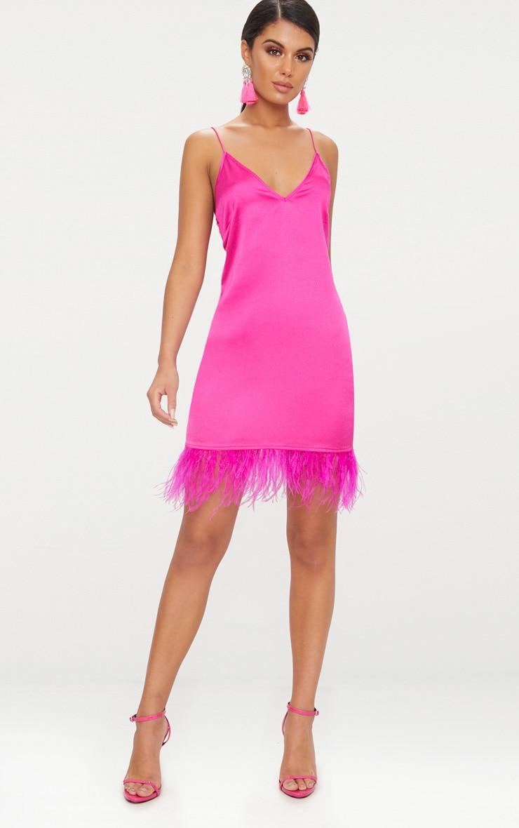 Fuchsia Feather Trim Satin Plunge Shift Dress  4