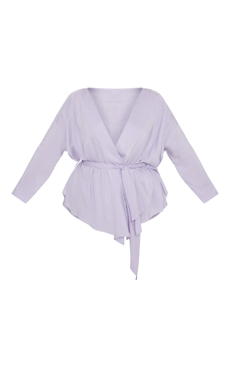 Plus Lilac Woven Tie Waist Blouse 3