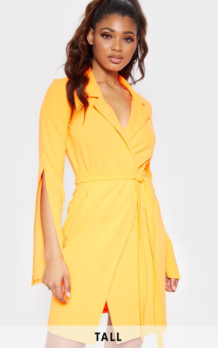 b5959f2d8f2f Tall Neon Orange Tie Waist Blazer Dress | PrettyLittleThing USA