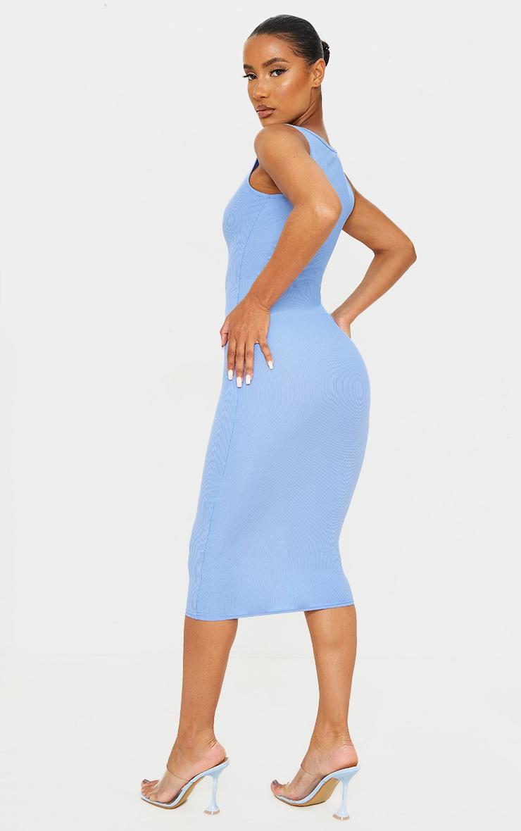 Blue Ribbed Midi Dress 2