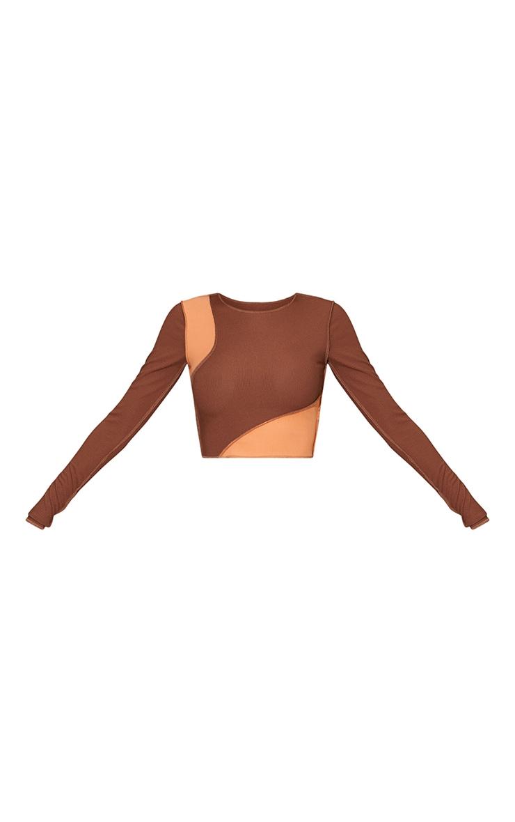 Chocolate Rib Overlock Detail Panel Long Sleeve Crop Top 5