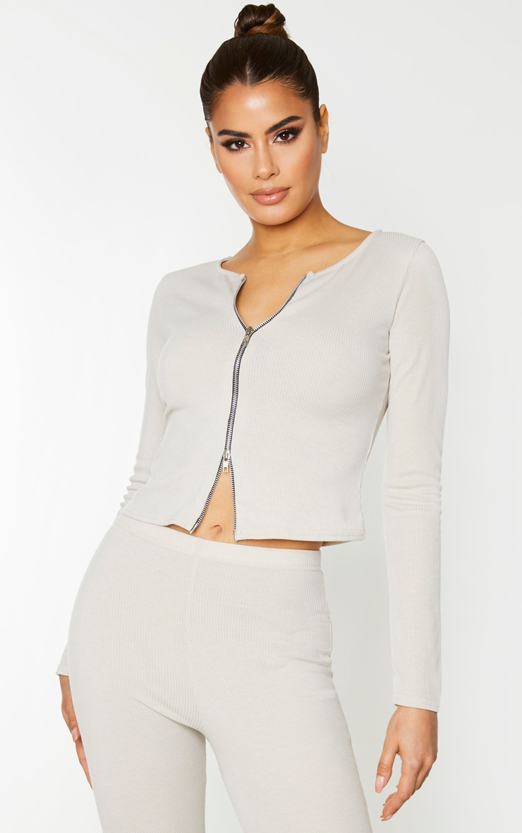 Tall Stone Double Zip Ribbed Long Sleeve Top 1