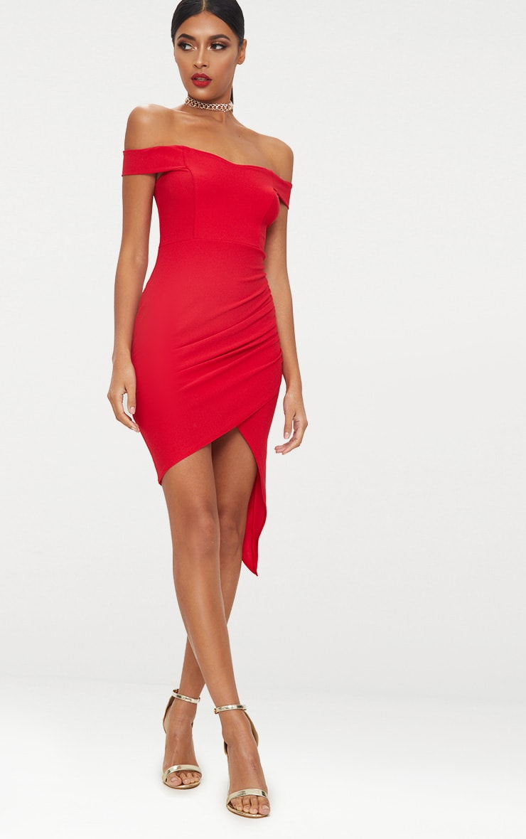 Red Bardot Ruched Detail Asymmetric Hem Midi Dress