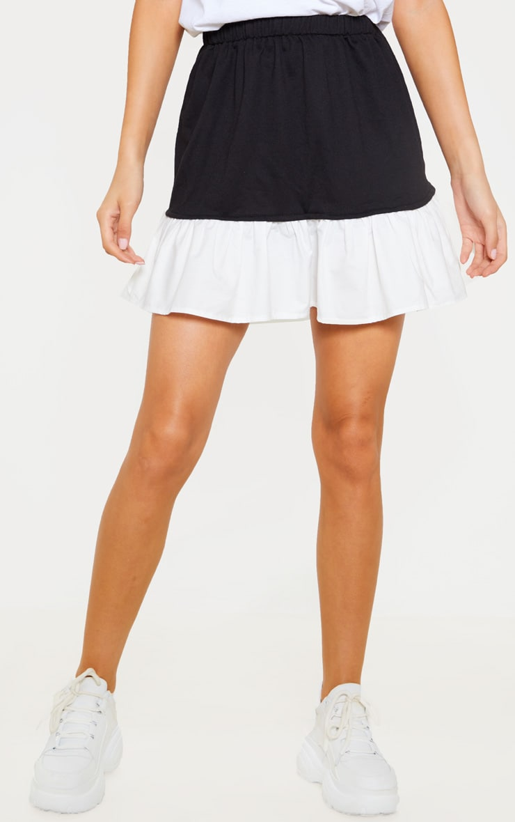 Black Poplin Contrast Frill Hem Mini Skirt  2