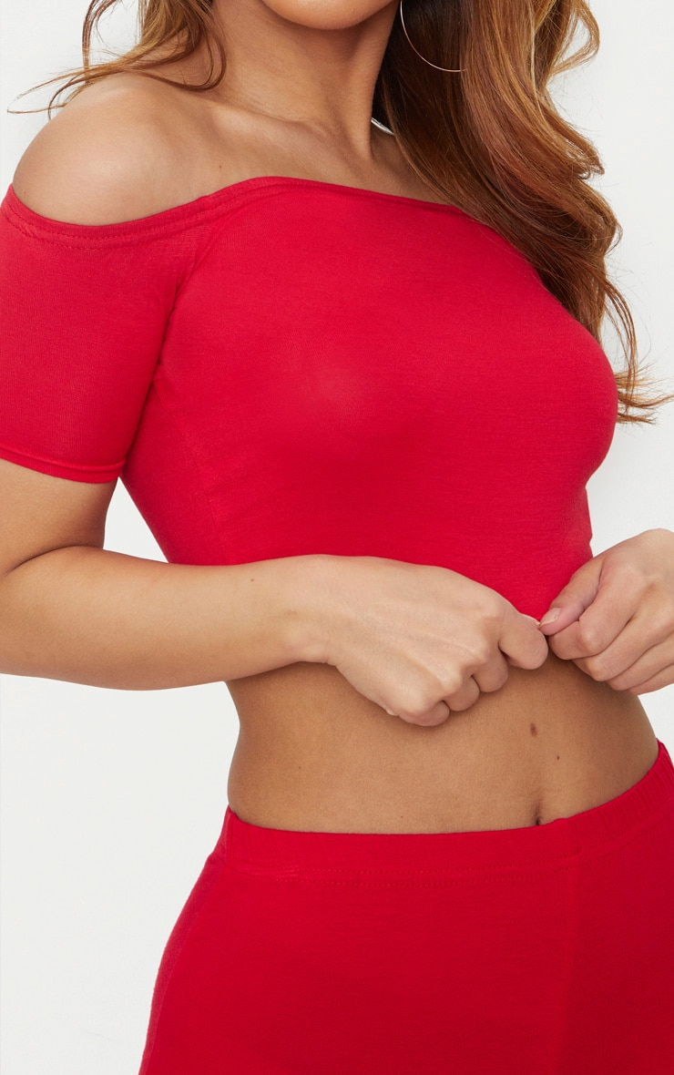 Petite Red Basic Bardot Crop Top 5