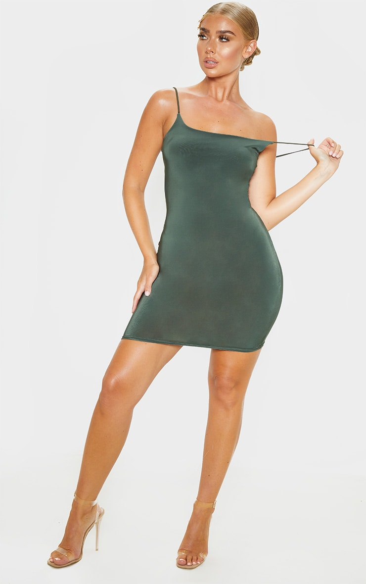 Khaki Slinky Spaghetti Strap Bodycon Dress 4