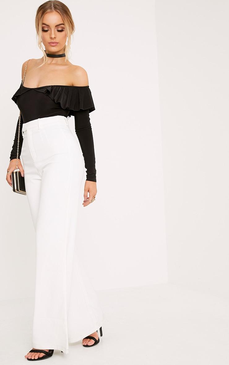 Laurel Black Slinky Bardot Frill Thong Bodysuit 5