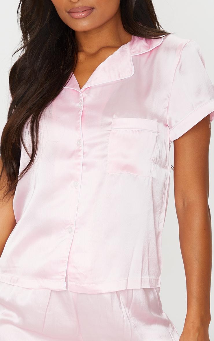 Pink With Piping Detail Satin Pocket PJ Shorts Set 4