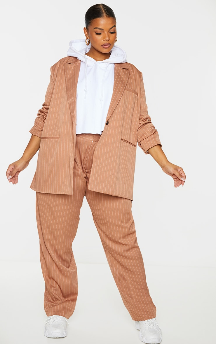 Plus Brown Pinstripe Oversized Dad Blazer 3
