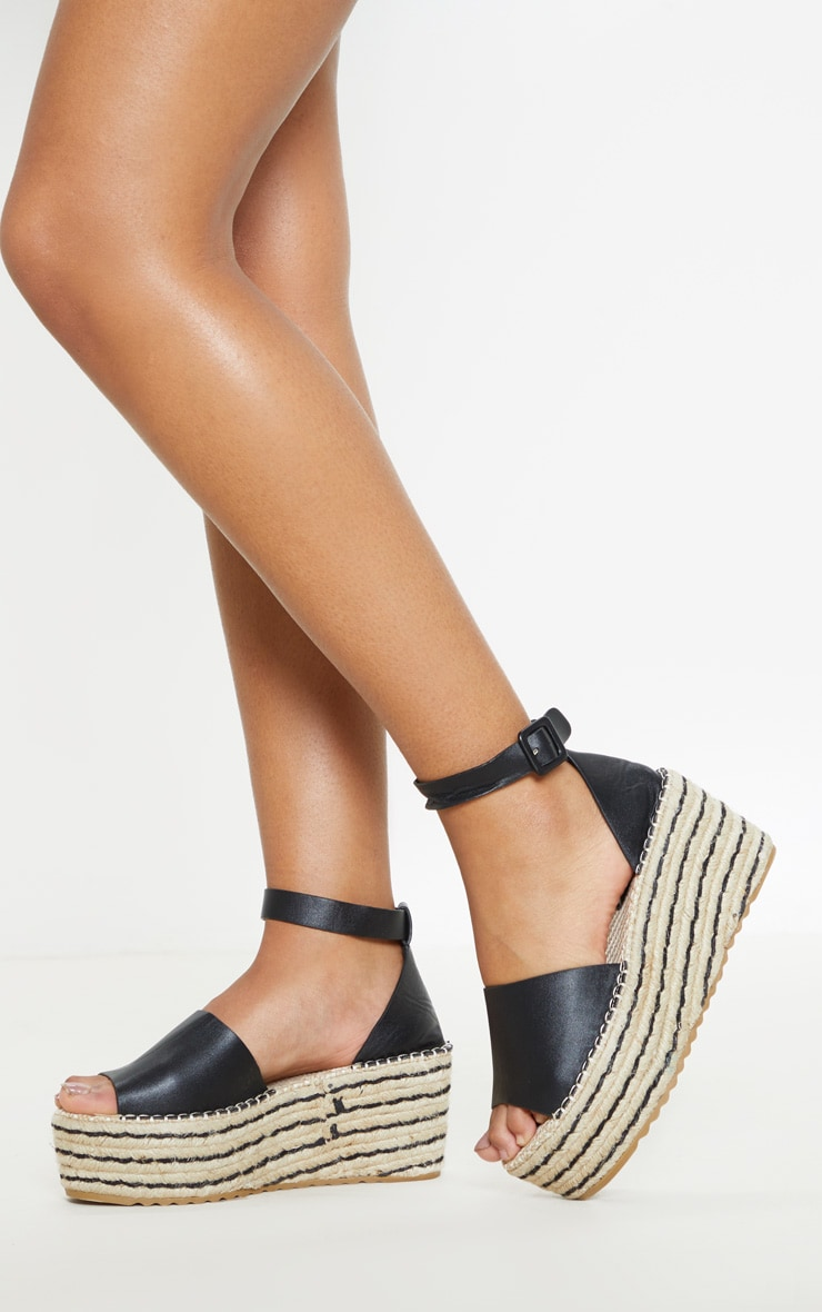 367a34b02f28 The Black Buckle Detail Flatform Espadrille Sandal. Head online and ...