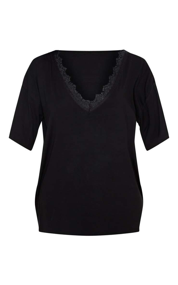 Black Plunge Lace Detail Short Sleeve Jersey T-Shirt 3