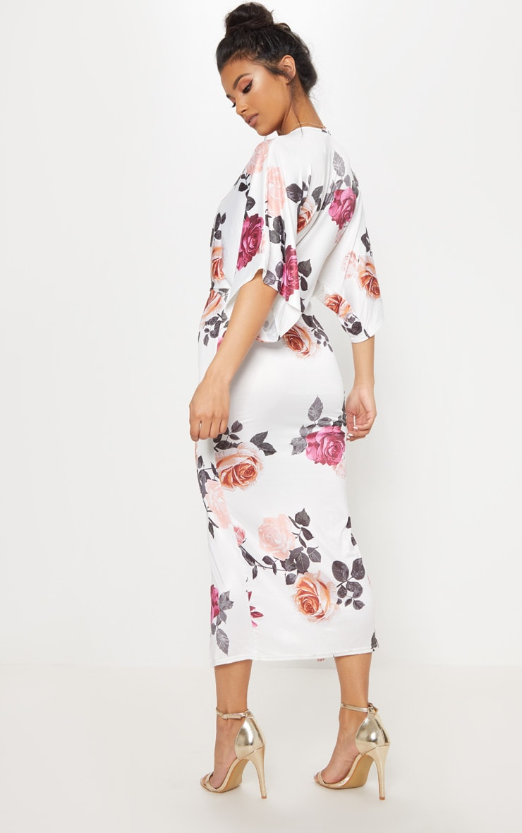 White Floral Print Twist Front Batwing Sleeve Midi Dress 2
