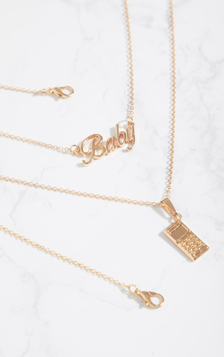 Gold Baby Logo Phone Necklaces 4