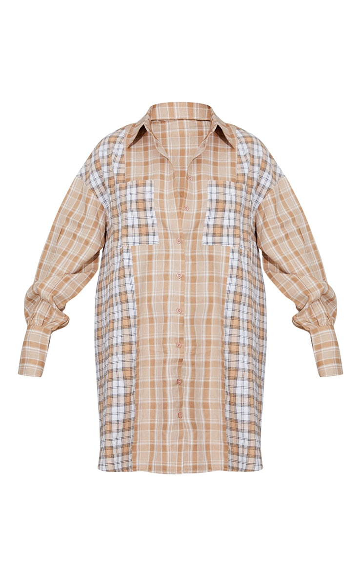 Stone Contrast Check Flannel Oversized Shirt Dress 5