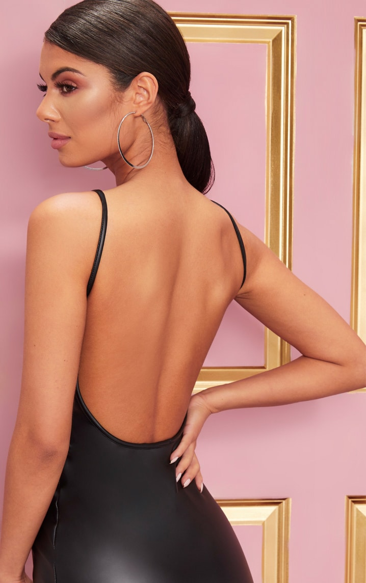Black PU Strappy Backless Bodycon Dress 5