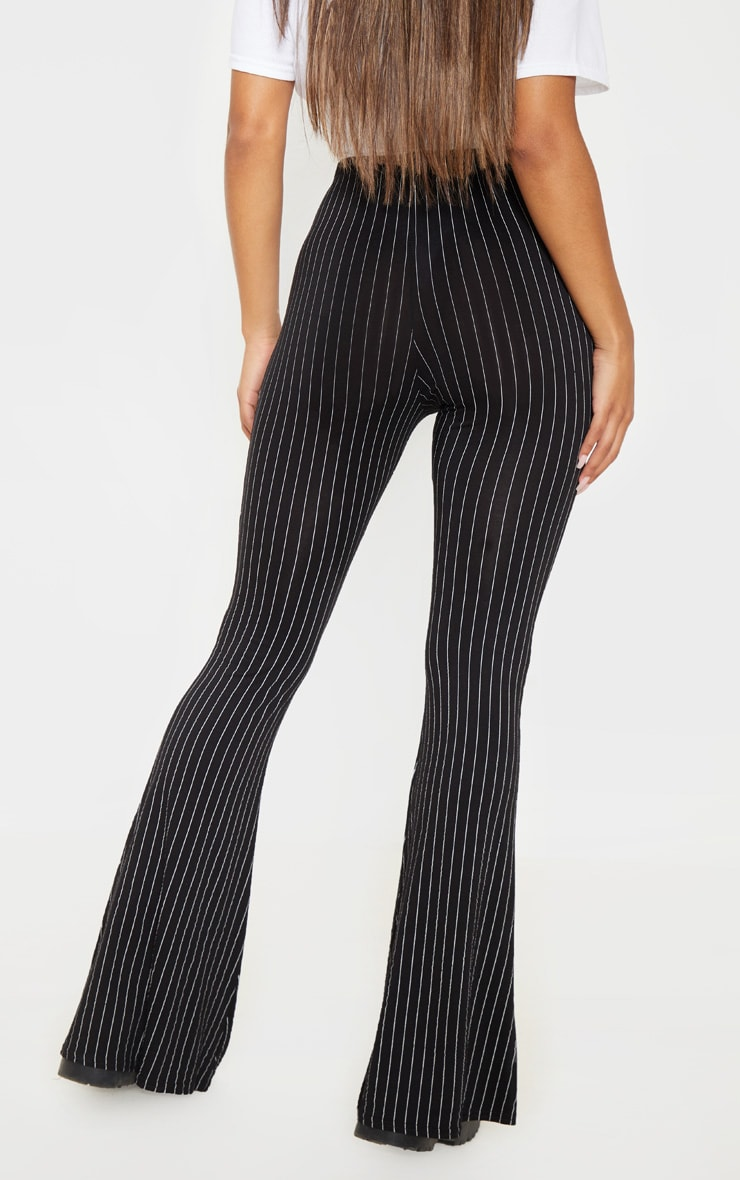 Black Jersey Pinstripe Flared Pants 4