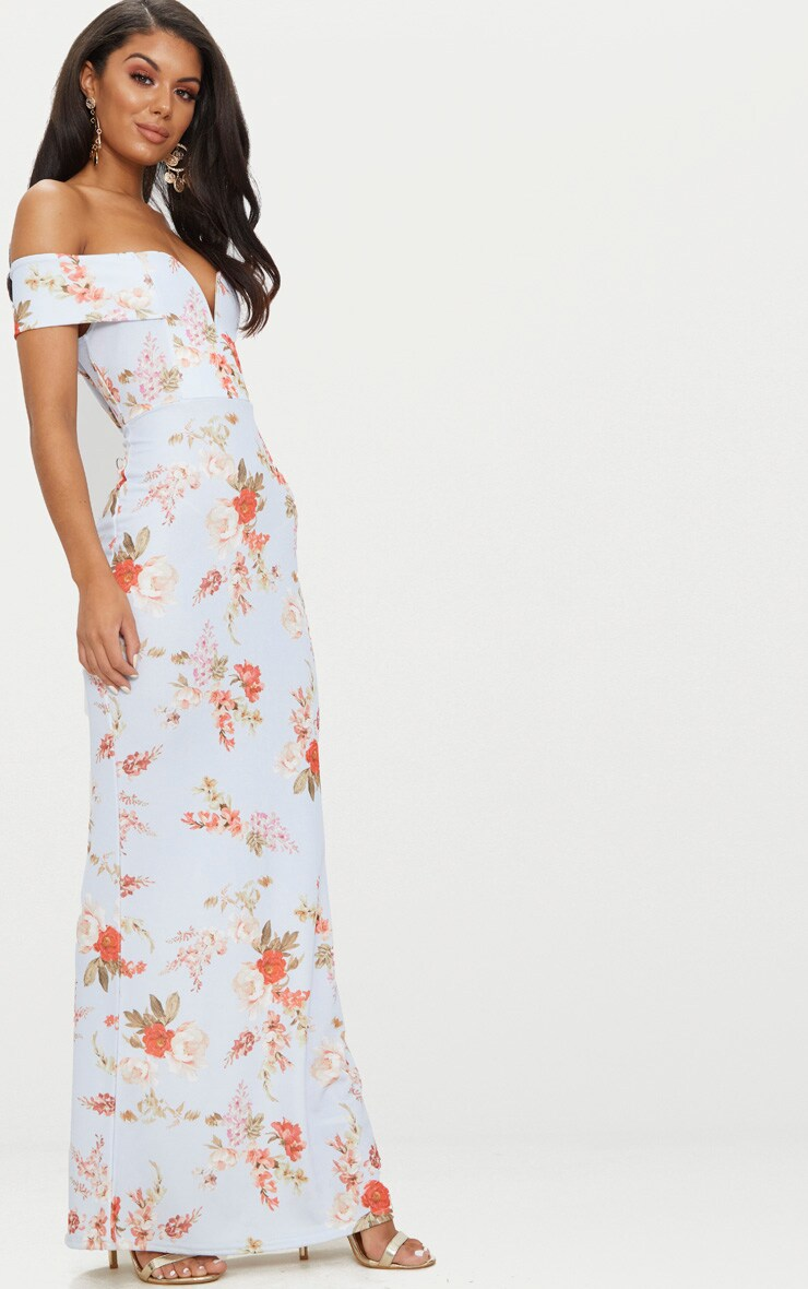 Dusty Blue Floral Print Bardot V Plunge Maxi Dress 4
