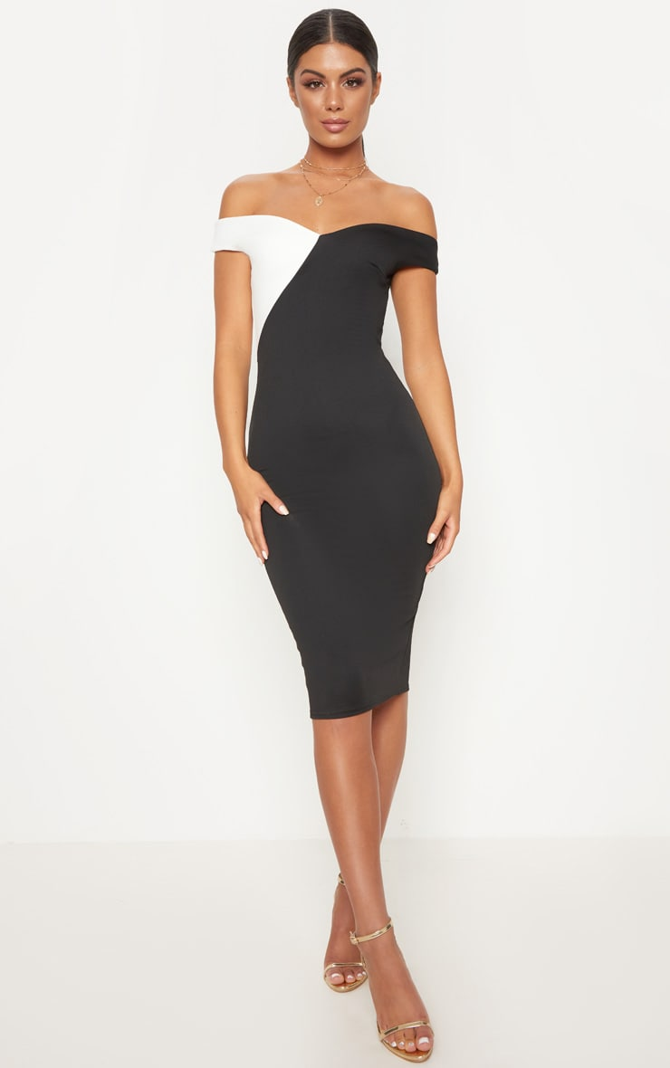 Black Bardot Colour Block Midi Dress 1