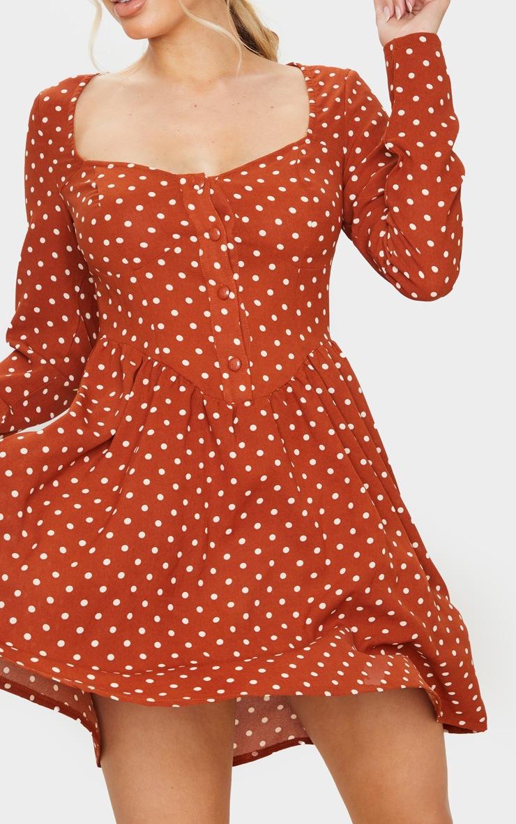 Terracotta Polka Dot Print Button Front Cup Detail Shift Dress 4