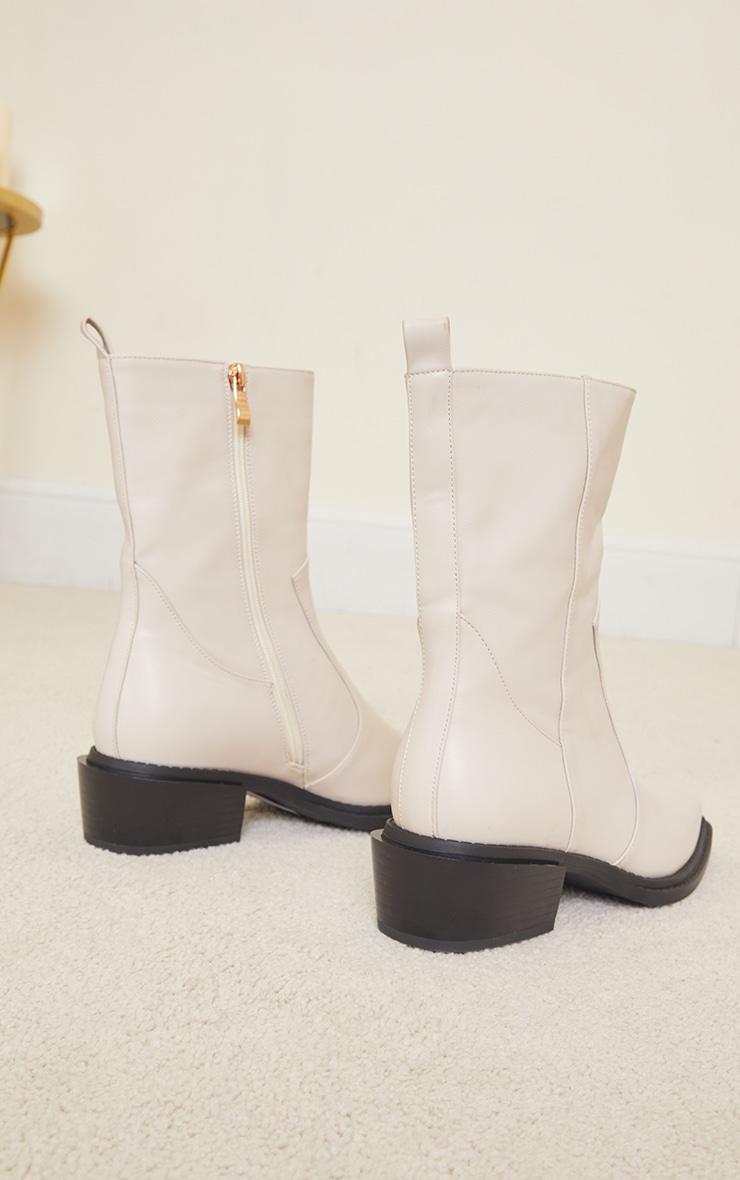 Cream Matte Pu Croc Square Toe Heeled Western Boots 4