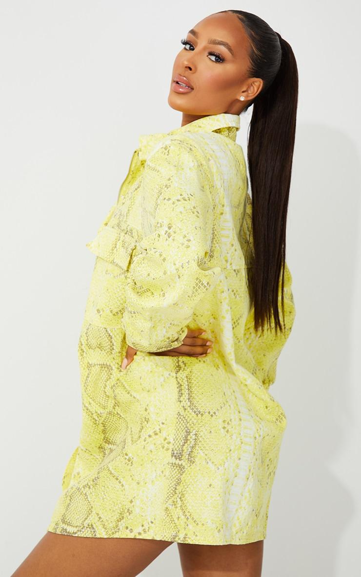 Yellow Snake Printed Denim Dress 2