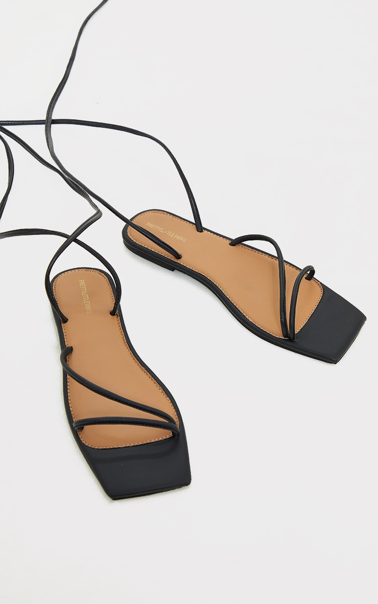 Black Real Leather Lace Up Square Toe Sandals 3