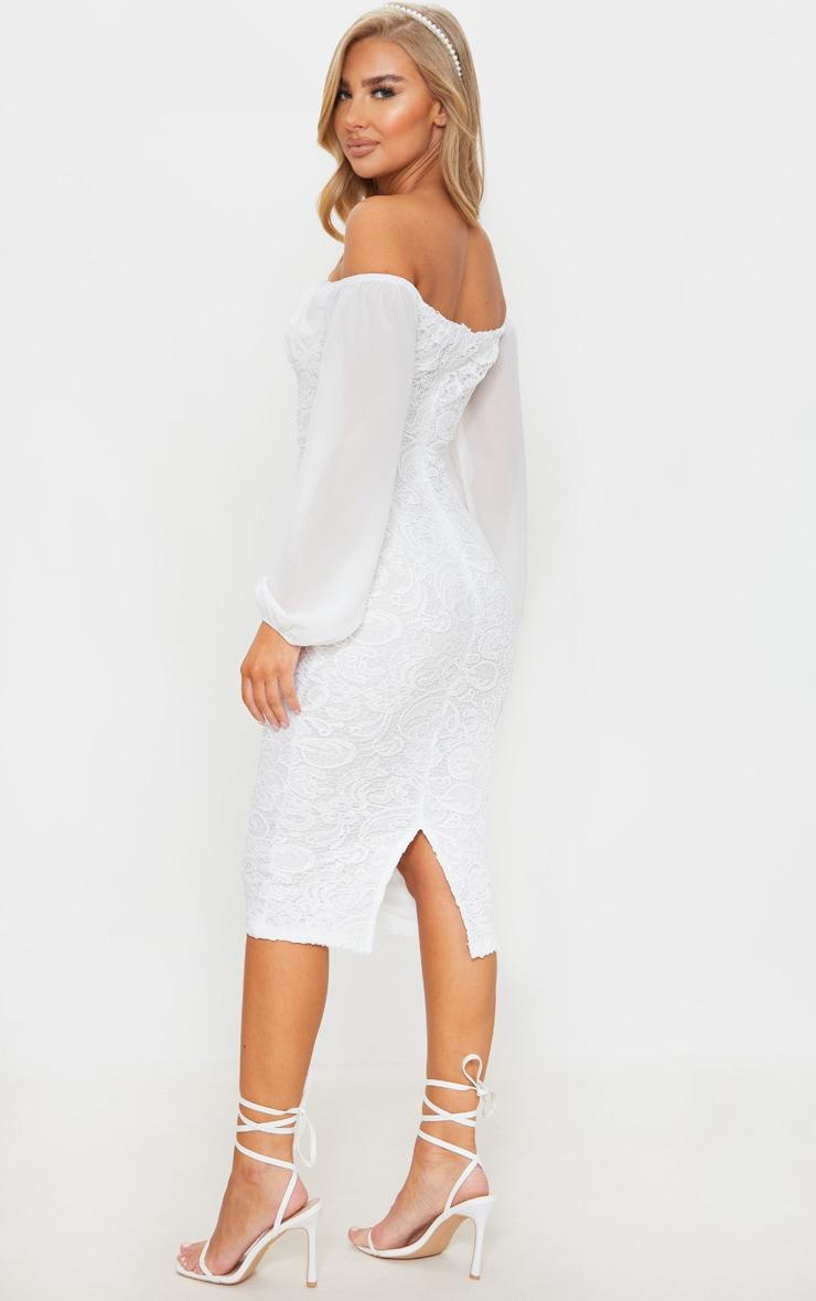White Chiffon Cup Insert Lace Midi Dress 2