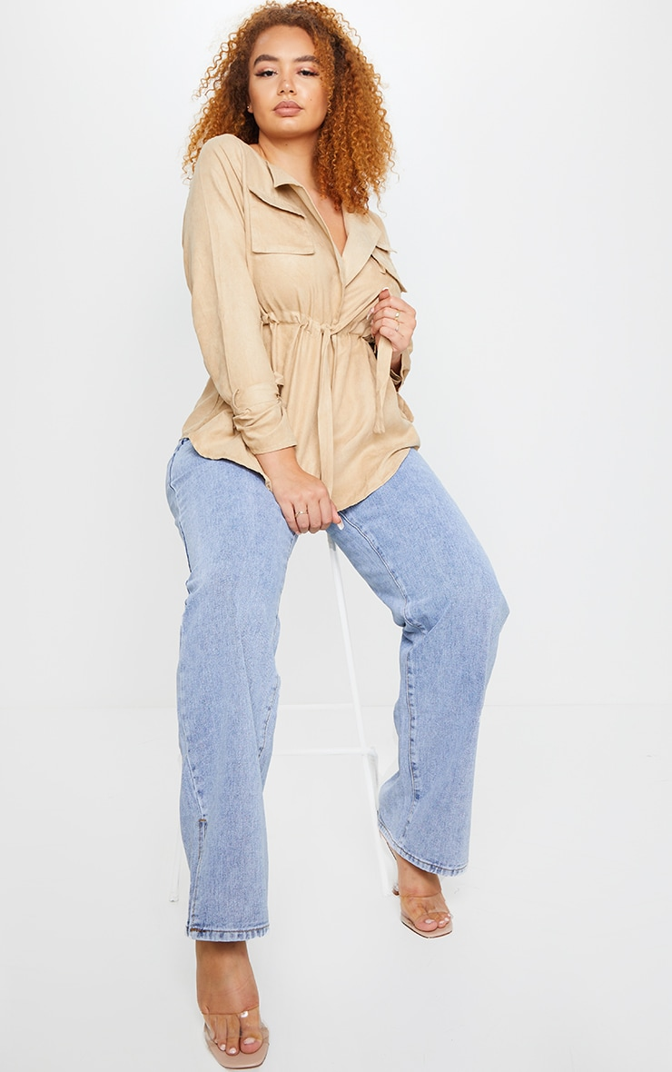 Plus Stone Faux Suede Cargo Ruched Waist Shirt 1
