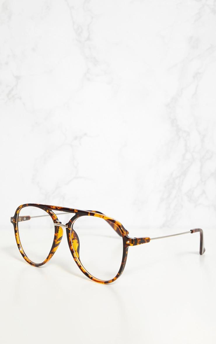 Tortouise Shell Aviator Clear Lensed Glasses 3