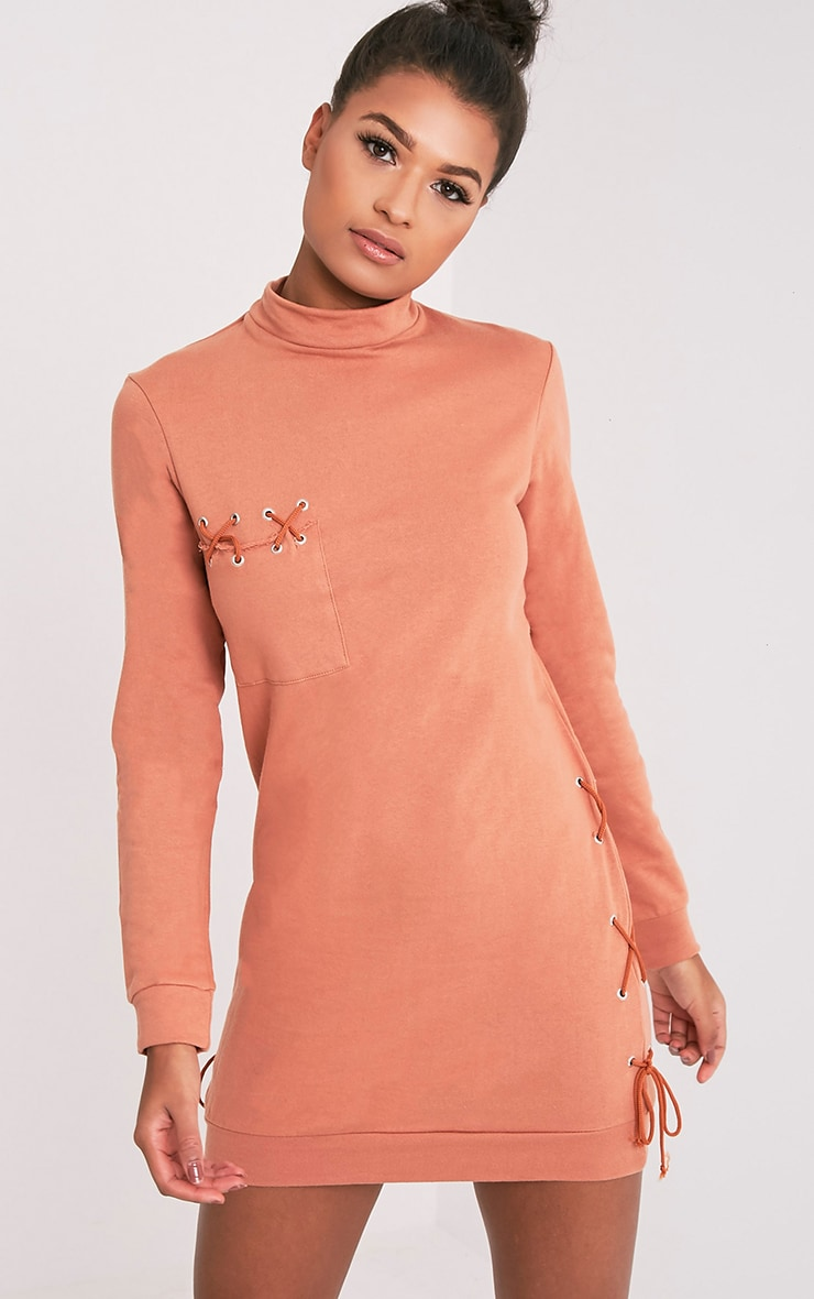 Irika Deep Peach Lace Up Detail Sweater Dress 1