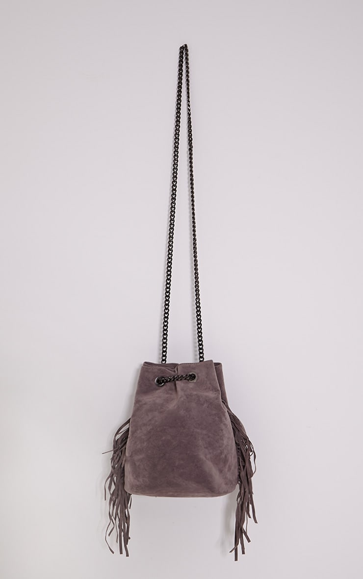 Letty Grey Suede Fringe Bucket Bag 1